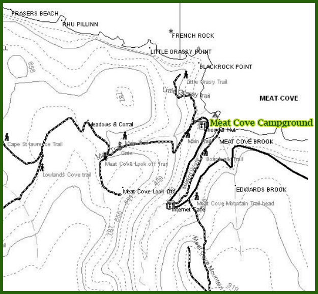 Walking Trails Map - Meat Cove Campground